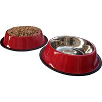 HMSTEELS Stainless Steel Pet Dog Feeding Bowl Anti Skid 2Bowls Set 500 ML Red ColorHMDBSRC001