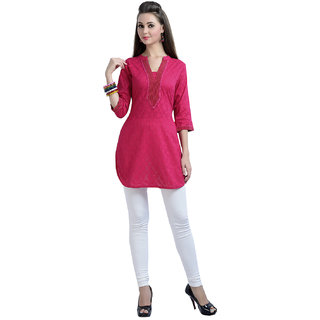 ZOLA Womens Jacquard Pink Color Plain Kurti