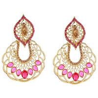 Kriaa by JewelMaze Zinc Alloy Gold Plated Pink  Brown Austrian Stone Dangle Earrings-AAA1070