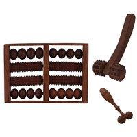 Desi Karigar Wooden Set Of Wooden 8 Roller Foot/Feet Massager For Body Stress Acupressure Feet Care +finger Cum Face Mas