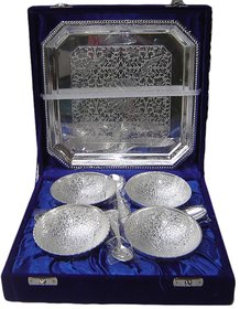 Silver Bowl and Tray Set - 4pc