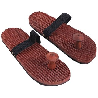 Desi Karigar Wooden Relaxing Acupressure Massager Slippers / Chappals For Good Health