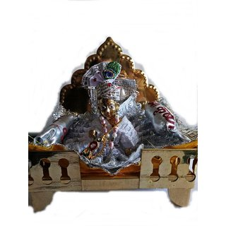Attractive White Dress Laddu Gopal Full Set (Dress, Mukut, Mala, Bansuri, Singhsan  Gaddi)