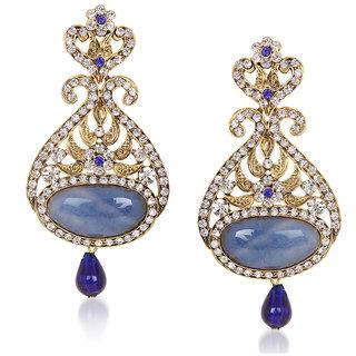 Kriaa by JewelMaze Blue Austrian Stone Drop Gold Plated Dangle Earrings-AAA0465