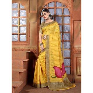 Vaikunth Yellow colour Bhagalpuri Silk printed Saree with unstitched blouse