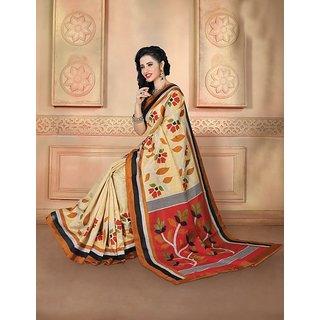 Vaikunth Multicolour Bhagalpuri Silk printed Saree with unstitched blouse