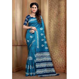 Vaikunth Blue colour Bhagalpuri Silk printed Saree with unstitched blouse