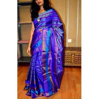 Uppada Multicolor Silk Striped Saree With Blouse