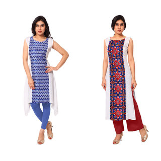 AHALYAA Red Self Design Crepe Stitched Kurti