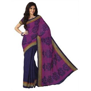 Subhash Daily Wear Magenta and Blue Color Bhagalpuri Silk Saree/Sari