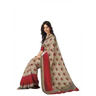 Subhash Daily Wear Beige and Red Color Bhagalpuri Silk Saree/Sari