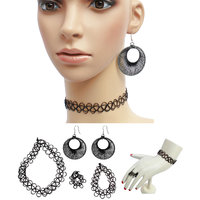 Black Funky tattoo Choker Necklace With Combo Of Ring Bracelet  Thread Earring