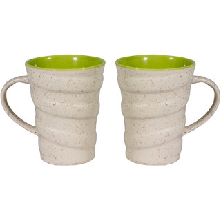 Indian Art  Ceramic White Mug (set of 2)