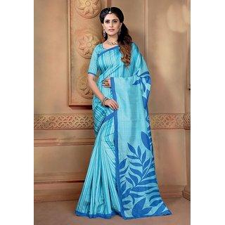 Vaikunth Sky blue colour Bhagalpuri Silk printed Saree with unstitched blouse