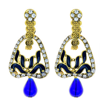 Kriaa by JewelMaze Austrian Stone Blue Meenakari Drop Peacock Gold Plated Dangle Earrings-AAA0474