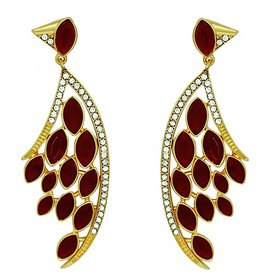 Mahi Feather Shaped Maroon Marquise Party Earring (Very Light Weight) For Women ER1109423G