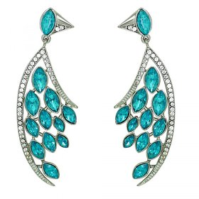 Mahi Feather Shaped Sky Blue Marquise Party Earring (Very Light Weight) For Women ER1109423R