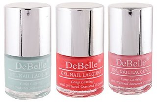 DeBelle Gel Nail Lacquer 8 ml each Combo of 3 (Mint Blue, Coral Orange  Pink)