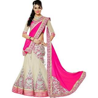 Pink Georgette And Net Embroidered Designer Lehenga Choli