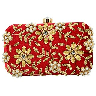 56ae4bbfec36 Buy SAAJAN Red Self Design Party Clutch Online - Get 0% Off