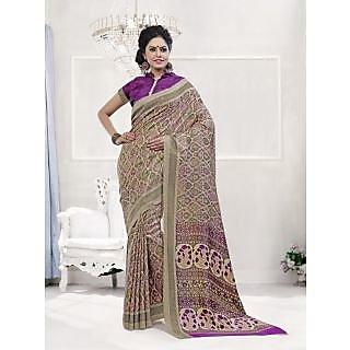 Vaikunth Multicolour Pashmina Silk printed Saree with unstitched blouse