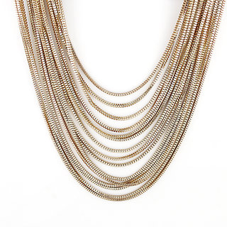 Fayon Contemporary Statement Unique Multi-Layer Gold Chain Necklace