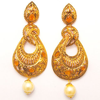 Kriaa by JewelMaze Zinc Alloy Gold Plated Brown Austrian Stone Dangle Earrings-AAA0951