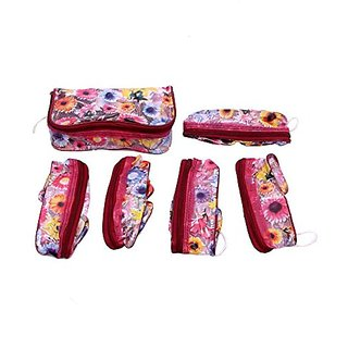 Cosmetic Pouches in Printed Plastic Set of 6 Pcs JK104