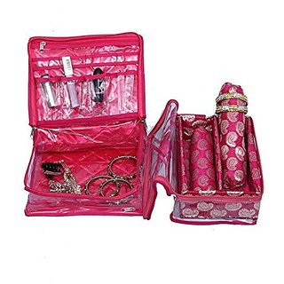 Make Up Kit & 2 Rod Bangle Box In Brocade 2 Pcs Combo KI5219