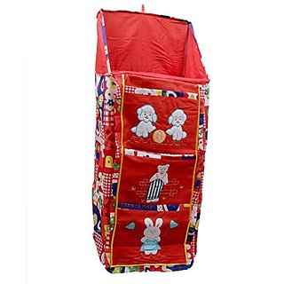 Kuber Industries Baby Almirah Hanging Three Cabinet For Kids (Red) BA103