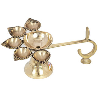 Brass Five Face Diya/Brass Golden Panch Arti Deepak
