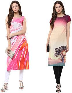 Janasya Multicolor Printed Crepe Straight Kurti