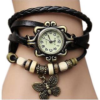 Women Genuine Leather Vintage Bracelet Watch Black