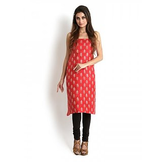 Red Handloom Pure Silk Kurta