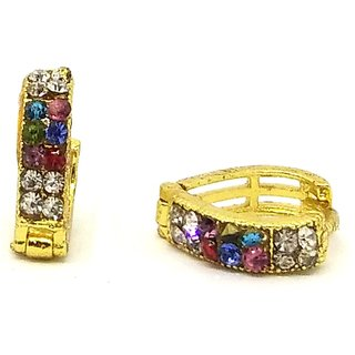 Pretty stone studded multicoloured bali earring for girls/women by GoldNera