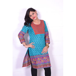 Trend-n-wow cotton Kurti blue and brown design 100% cotton