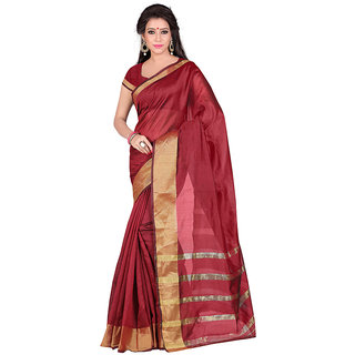 Manju Saree Red Colours Cotton Saree With Blouse Piece