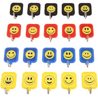 Square Smiley Self Adhesive Hooks In 4 Colours Pack Of 20 Hooks