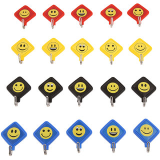 Smailey Hooks Kite Emoticon Self Adhesive  Five In 4 Colours Used On All Surfaces