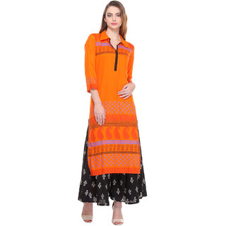 Varanga Orange Printed Rayon Stitched Kurti