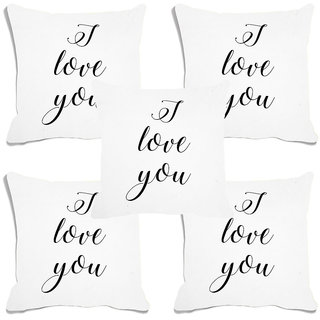 meSleep I Love You White Digital Printed Cushion Cover (16x16)