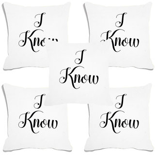 meSleep I Know White Digital Printed Cushion Cover (16x16)