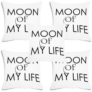 meSleep Moon Of My Life White Digital Printed Cushion Cover (16x16)