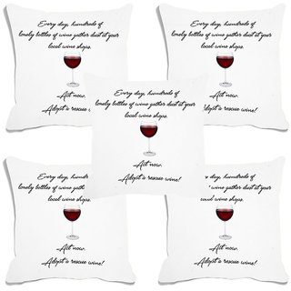 meSleep White Quotes Digital Printed Cushion Cover (16x16)