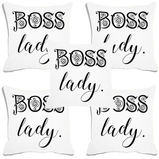 meSleep White Boss Lady Digital Printed Cushion Cover (16x16)