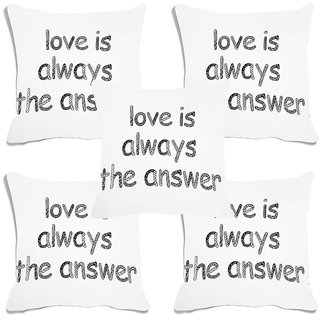meSleep White Love Is always The answer Digital Printed Cushion Cover (16x16)