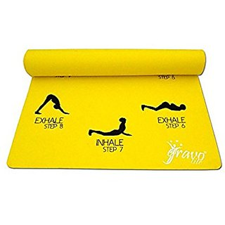Gravolite Sun Salutation Yoga Mat 6.5 Feet Length & 3 Feet Wide , 8 MM Thickness (Yellow) with Strap & Bag