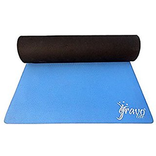 Gravolite Dual Layer Yoga Mat 6.5 Feet Length, 2.5 Feet Wide & 4 MM (Sky Blue & Grey) with Strap