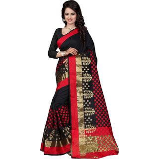 Women's Poly Cotton Black Saree With Blouse