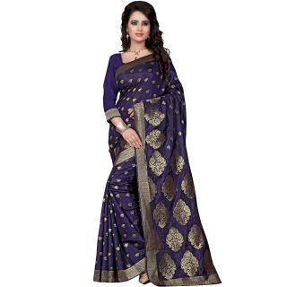 Women's Poly Cotton Navy Blue Saree With Blouse